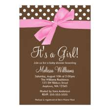 pink and brown baby shower pink polka dot baby shower invitations announcements zazzle