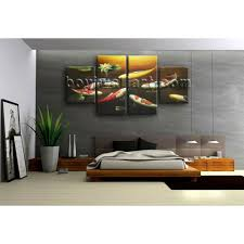 large feng shui painting koi fish wall art canvas dining room 4