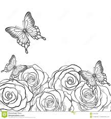monochrome black and white card with flowers roses and butterflies