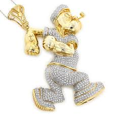 custom gold necklace custom diamond popeye pendant in sterling silver 4ct gold plated
