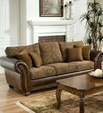 Fabric Leather Sofa Brown Leather Sofa With Fabric Cushions Adrop Me