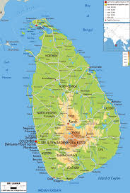 Asia Physical Map Large Physical Map Of Sri Lanka With Roads Cities And Airports