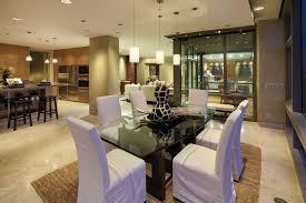 Modern Dining Room With Pendant Light  Travertine Tile Floors In - Dining room tile