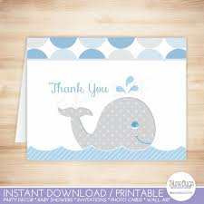 Mod Baby Shower by Mod Whale Thank You Card Template Whale Folded Thank You