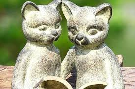 cat garden statues metal nodding cat garden ornament