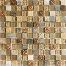 Sample Natural Brown Stone Glass Mosaic Tile Kitchen Backsplash - Stone glass mosaic tile backsplash