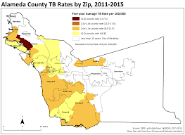 Oakland Zip Code Map by Tuberculosis Tb Acphd