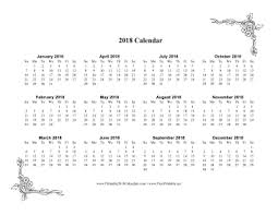 printable calendar year on one page printable 2018 one page calendar with flowers