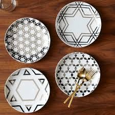 hanukkah tableware silver hanukkah plates set of 4 west elm