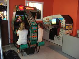 sit down arcade cabinet file segas line of fire and namcos pole position ii sit down