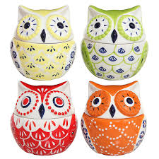set of 4 multicolored abstract owl design ceramic condiment pots