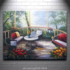 impressionist landscape oil painting on canvas garden scene acrylic paints art large oil canvas paintings