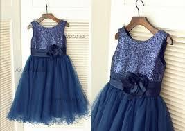 navy blue sequin tulle flower dress children toddler party