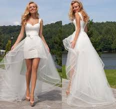 cheap 2017 two pieces short lace wedding dress with detachable