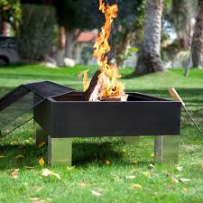 fire sense square hotspot fire pit with cooking grate and free