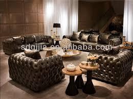 canape de luxe cuir style américain classique chesterfield luxe gris foncé en cuir