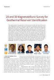 2d and 3d magnetotelluric survey for geothermal reservoir