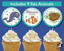under the sea baby shower printable cupcake toppers ocean theme