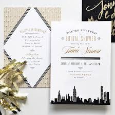 wedding invitations nyc new york invitation black and gold bridal shower gatsby