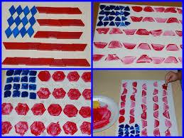 American Flag Header Easy Patriotic Pattern Block Painted Flag Craft