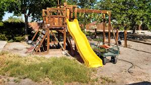 swing set makeover turning play equipment into a beautiful garden