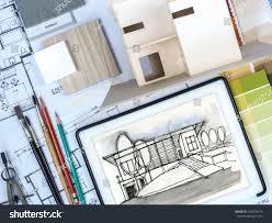 top view architect interior designer worktable stock photo