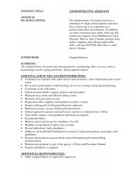 Administrative Assistant Job Description For Resume by Administrative Assistant Summary Of Qualifications Resume