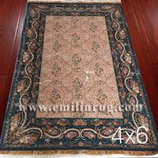 Silk Oriental Rugs 1 4ft X 6ft Green Persian Design Silk Hand Knotted Oriental Rug