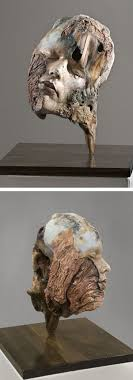 wood sculpture artists artist repurposes found driftwood into surreal self portrait
