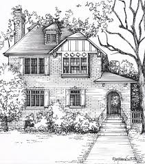 drawing houses custom house portraits in ink architectural sketch of your home