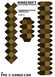 minecraft life sized diamond pickaxe printable papercraft template