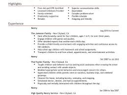 Examples Of Nanny Resumes by Nanny Resume Resume Cv Cover Letter