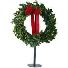 home accents 14 in boxwood dried wreath on stand a1215