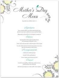 menu for mothers day letter template mother u0027s day menus