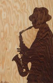 original wooden blues jazz music mood chill art marquetry portrait