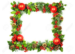 a christmas frame of red baubles and natural holly with red