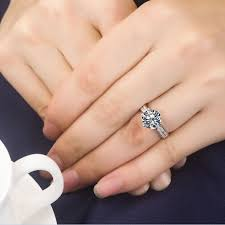 Best Wedding Ring Stores by Solid 14k White Gold Ring 2 Carat Brilliant Round Female
