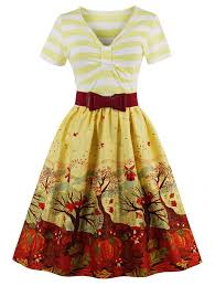 vintage dresses yellow m v neck fit and flare printed vintage
