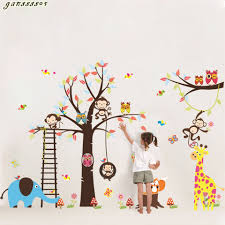 popular kindergarten trees buy cheap kindergarten trees lots from new diy cute forest animal cartoon kindergarten playing on trees wall stickers forkids rooms decorative removable