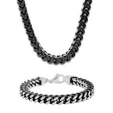 silver necklace bracelet set images Men 39 s foxtail chain necklace bracelet set stainless steel jpg