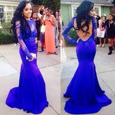 prom dress royal blue mermaid scoop long sleeves with