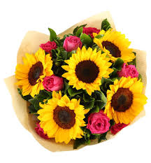 bouquet of sunflowers mixed roses sunflowers bouquet gift flowers hk