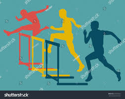 hurdle race man jumping over obstacle stock vector 602370353