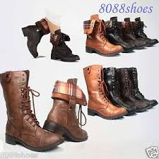 womens boots mid calf brown soda lace up low heel toe foldable combat mid calf