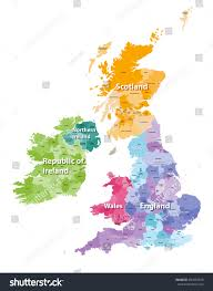 British Isles Map British Isles Map Colored By Countries Stock Vector 694505878
