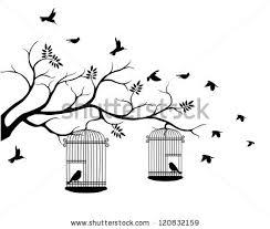 vintage bird cage in tree vector free vector stock