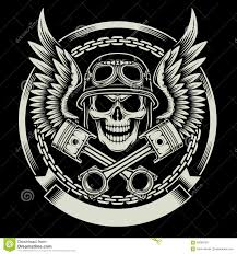 vintage biker skull with wings and pistons emblem from