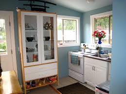 narrow kitchen with ikea kitchen cabinets built all around the