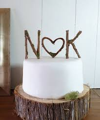 rustic wedding cake topper any two vine letters with heart