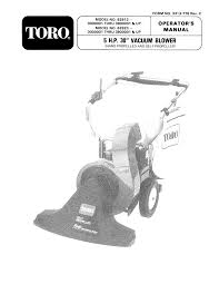 toro 62912 5 hp lawn vacuum operators manual 1990 1992